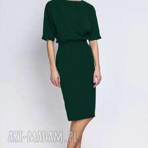 Sukienka dopasowana dołem, suk123 butelkowa zieleń sukienki