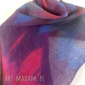 lniany szal ręcznie barwiony - unikat, prezent, dzianina, recznie barwiony