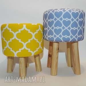 pufa niebieskie serduszka - 45 cm, puf, pufa, stołek, taboret, siedzisko, hocker