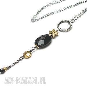 handmade naszyjniki black flower -naszyjnik