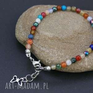 bransoletki bransoletka kamienie kolorowe w stali szlachetnej, bransoletka