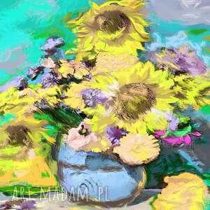 Obraz na płótnie kwiaty słoneczniki 70 x 50, nowoczesny