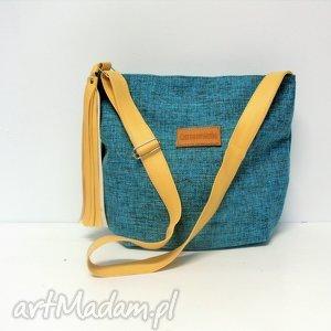święta prezent, long hobo, torba, niebieska, modna, szyta