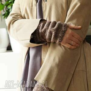 ręcznie zrobione upominek świąteczny beżowe rękawki