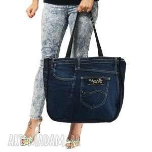 duża torba upcykling jeans 37 lee cooper od majunto, upcykling