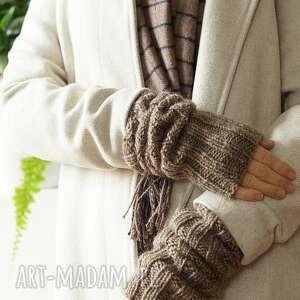 Rękawki beżowe rękawiczki mondu rękawki, płaszcz,
