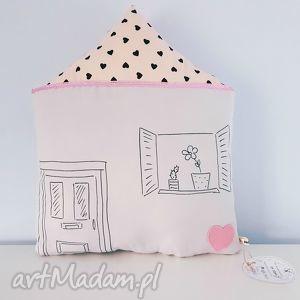 poduszka domek duży - poduszka, domek, podusia, pastelowa, serduszka, szara