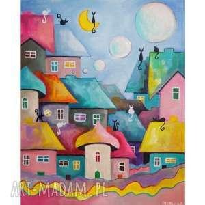 obraz akrylowy bajkowe miastczko format 33/41 cm, bajka, akryl, domki, miasteczko