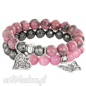 lavoga sada 2 - pink & steel - hematyt, rodonit, serce