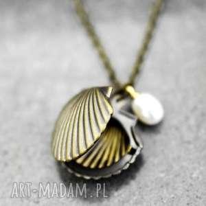 mini muszla naszyjnik z perłą słodkowodną - muszla, muszelka, perła