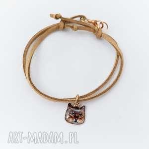 brązowa bransoletka z kotem - ,brązowa,beżowa,bransoletka,kot,kotek,cat,