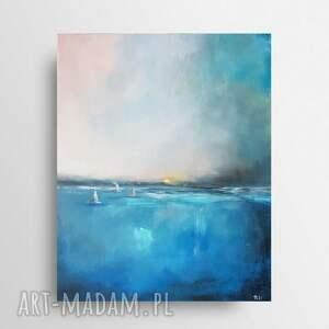 morze-obraz akrylowy formatu 40/50 cm, morze, obraz, łodzie, płótno