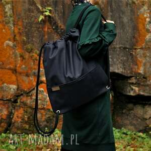 plecak czerń nubuk faktura, vegan, plecak, worek, boho, simple, minimal
