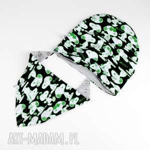 handmade zestaw czapka chustka dla dziecka dwustronny snoopy