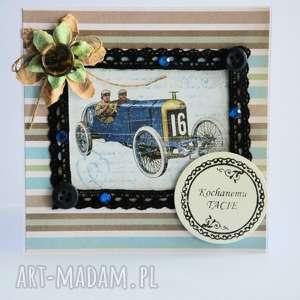 kartka - kochanemu tacie 2 - kartka, tata, ojciec, vintage, retro, samochód