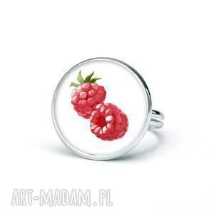 pierścionek z grafiką maliny, prezent, upominek, oryginalny, śmieszny, zabawny