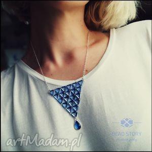 Naszyjnik geometryczny z błękitną kroplą, wisior, geometria, szkło, trójkąt