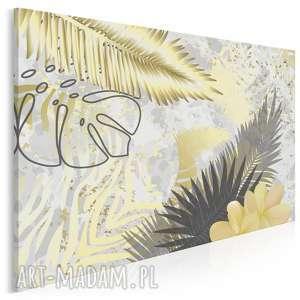 obraz na płótnie - liście złoty egzotyczny 120x80 cm 89401, liście, monstera
