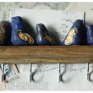 ręcznie robione ceramika wieszak z granatowo-złotymi ptakami duży