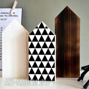 3 domki drewniane, dom, trójkąty, skandynawski, domek, domki