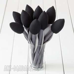 Prezent TULIPANY szaro czarny bawełniany bukiet, tulipany, kwiaty, prezent