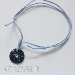 okrąg bransoletka, srebro, swarovski, sznurek, oksydowane