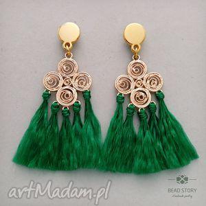 Kolczyki z filigranem w zieleni, sztyfty, stal, metal, chwosty