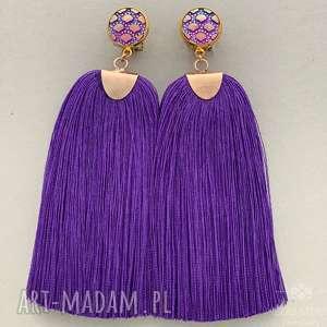 Prezent Klipsy z chwostami fioletowymi, chwosty, wiskoza, frędzle, kolor, barwne,