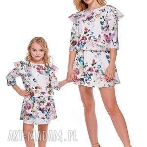 mama i córka sukienka odcinana w pasie dla córki ld8 5 - falbana, sukienka, mama