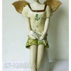 ceramika anioł z rybą, ceramika, anioł, ryba, rybak, kotwica, rybaczki