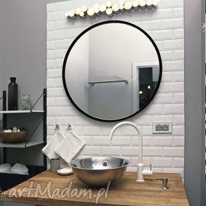 Lustro Scandi, średnica 70cm, okrągłe w czarnej ramce, lustro, skandynawskie,
