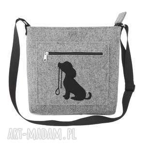 na ramię filcowa torebka z pieskiem ze smyczą, filc, torebka, listonoszka, pies