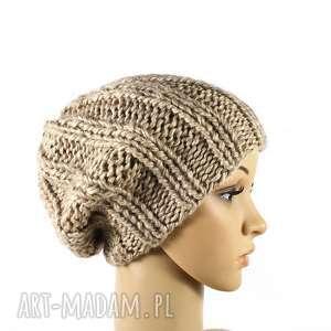 grubaśna beżowa czapka robiona na drutach, czapka, melanżowa, dziergana