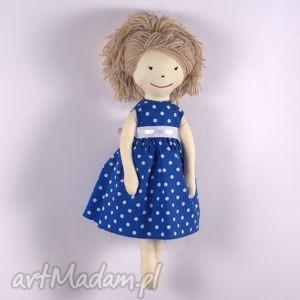 lalki pollyanna w granatowej wizytowej sukni, lalka, szmaciana, zapakowana, suknia