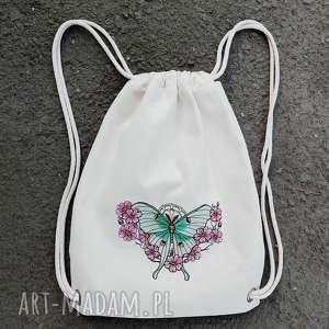ręczne wykonanie plecaki plecak z haftem ćma księżycowa