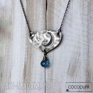 cocopunk naszyjnik noc - srebro i kwarc niebieski, krótki naszyjnik, z księżycem