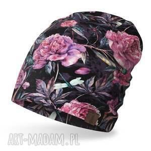 hand-made czapki czapka w różowe kwiaty, lekka, cienka bawełniana wiosenna