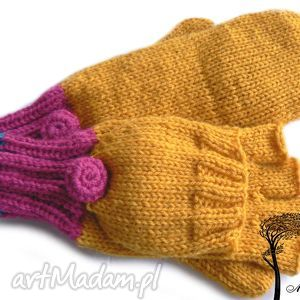 bezpalczatki z klapką 11 - rękawiczki, mitenki, klapka, dziergane, jednopalczaste