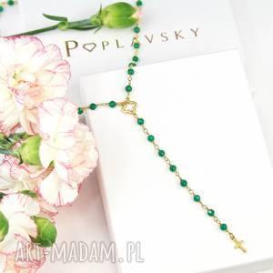 naszyjnik zielony onyks z koniczynkĄ i krzyŻem srebro 925, naszyjnik, różaniec