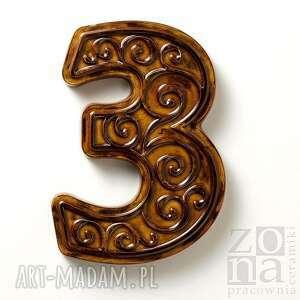 cyfra 3 na dom brązowa, cyfra, numer, ceramika, dom, ornament, dekoracja, unikalne