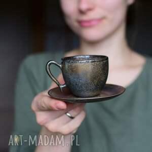 ceramika filiżanka espresso złota rustykalna 75ml, filiżanka, mała