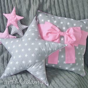 poduszka gwiazda szaro-różowa, poduszka, gwiazda, gwiazdki, róż