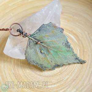 ręcznie zrobione naszyjniki liść brzozy - naszyjnik z prawdziwym liściem