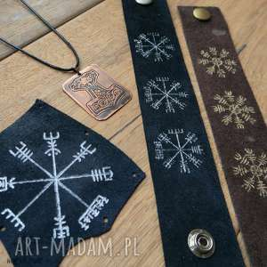 męski zestaw prezentowy wiking iv 2 skórzane bransolety, naszywka i wisior