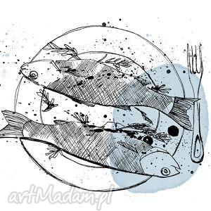 art print... a4, ryby, kuchnia, grafika, wydruk