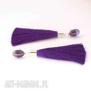 Cahaya - fioletowe chwosty, sztyfty, lekkie, wesele, długie, frędzle