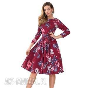 sukienka marie 3/4 midi kirsten, kwiaty, midi, rozkloszowana, kokarda, pasek