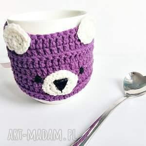 Misiowy otulacz na kubek - fiolet - handmade