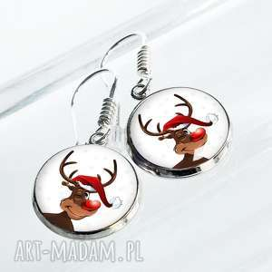 kolczyki z reniferami - biżuteria na prezent świąteczny, mikołaj, na-gwiazdkę, święta