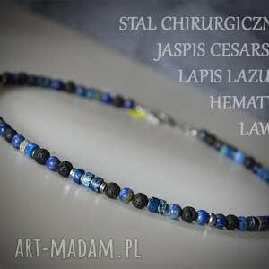 Naszyjnik męski z jaspisem, lapisem lazuli, lawą, hematytem